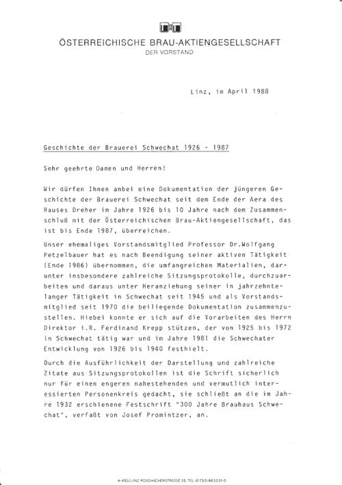 Dokumentation über die Geschichte der Brauerei Schwechat 1926 - 1987, verfasst von F. Krepp und Dr. W. Petzelbauer